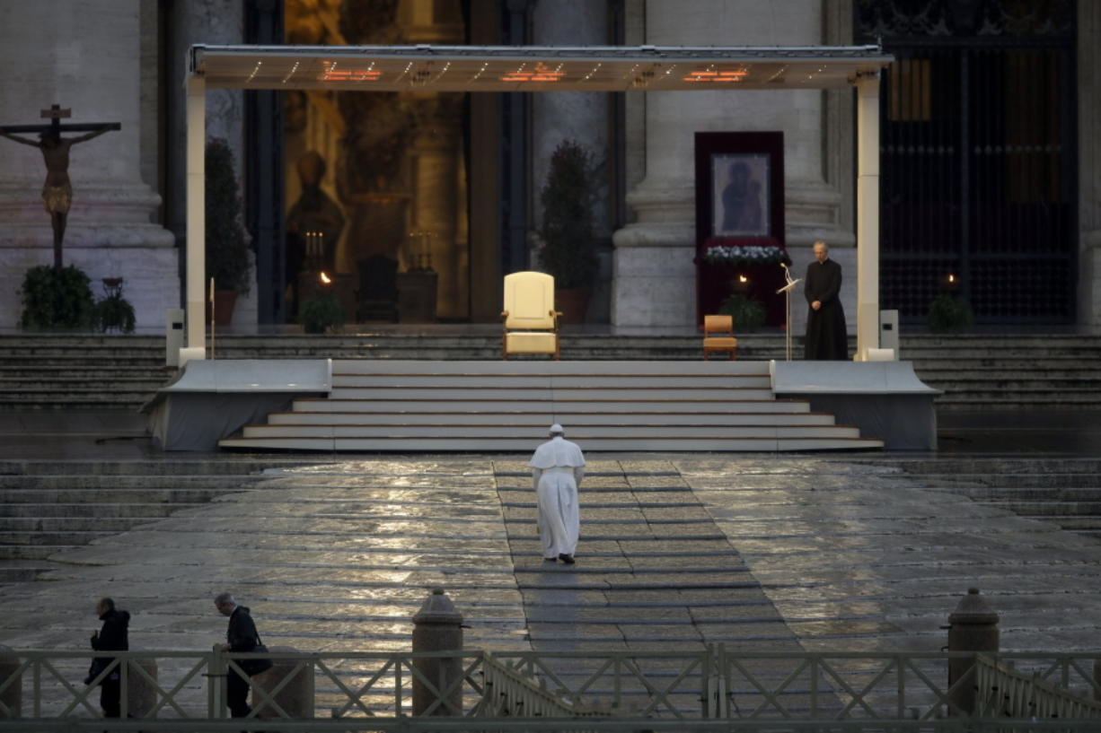 The Pope prays at the Vatican