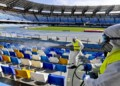 Constant disinfection of football stadium