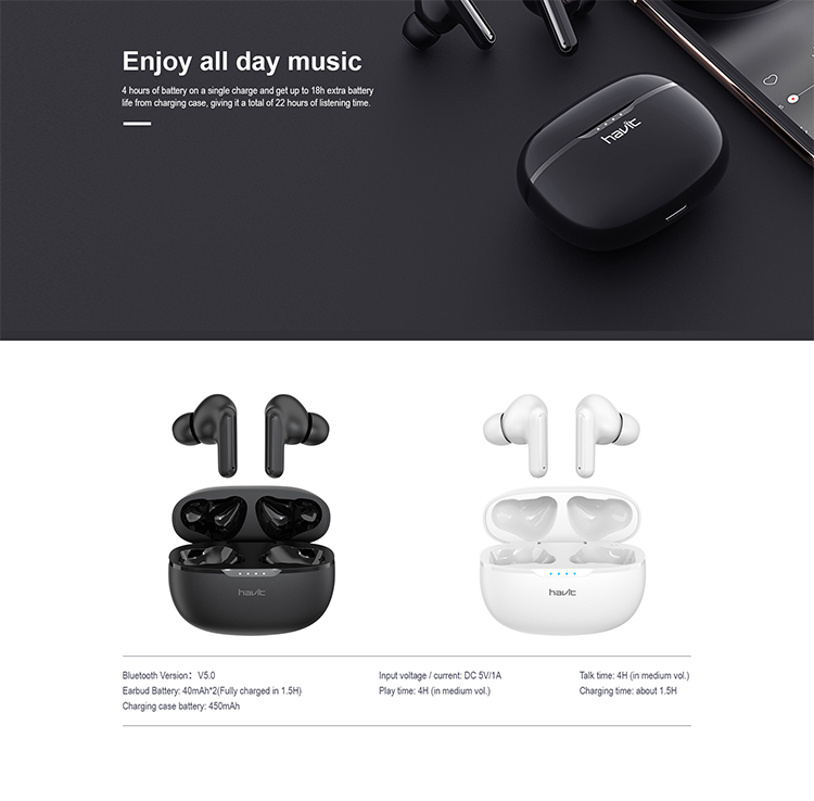 The Havit i99 TWS comes in White and Black colors