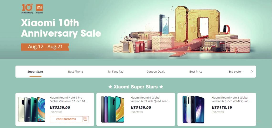 Xiaomi 10th anniversary sales