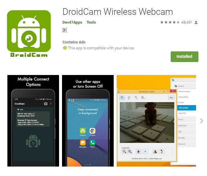 Use smartphone as PC webcam