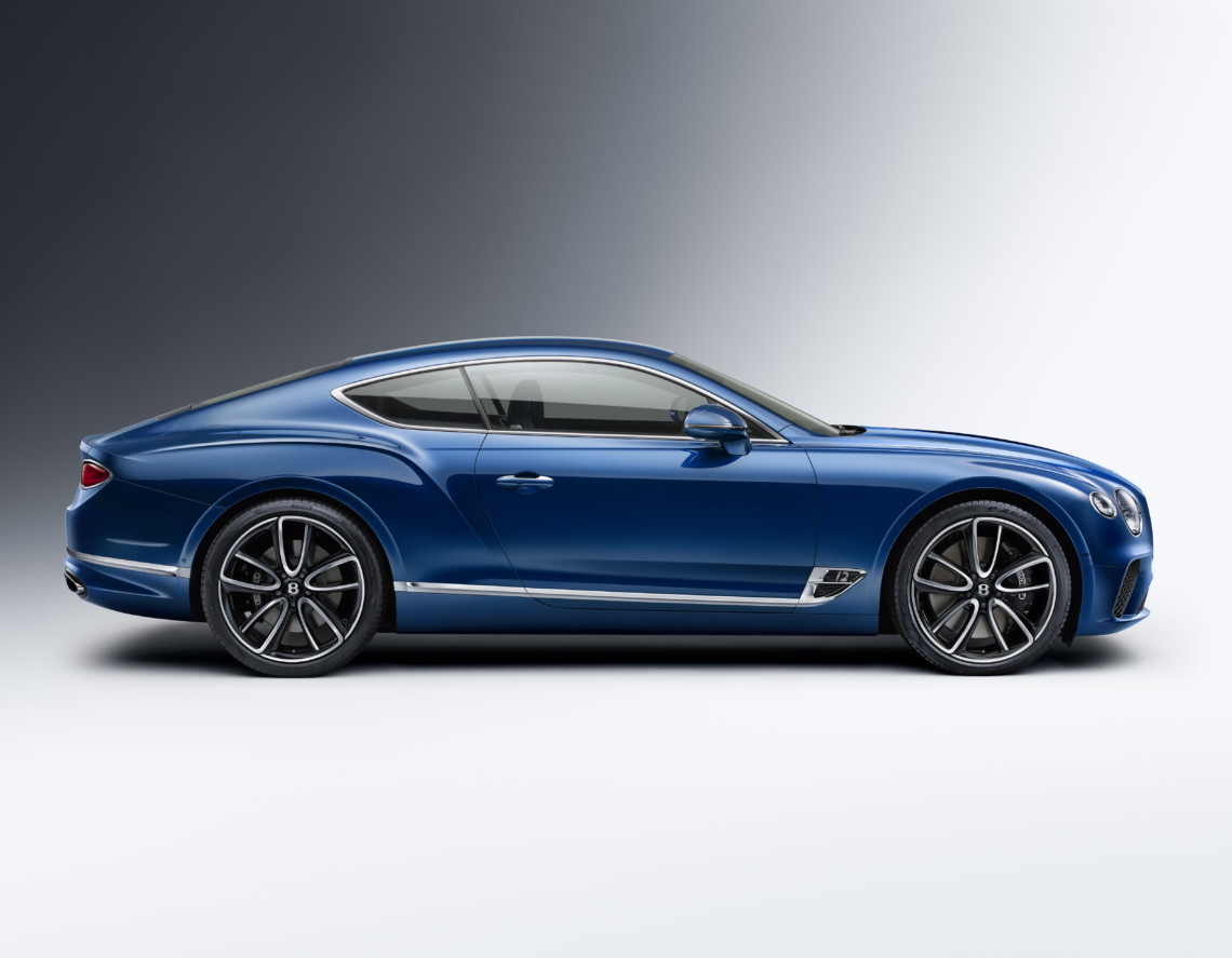 The Bentley Continental GT side showing the refined look and feel of the vehicle and its distance from the ground