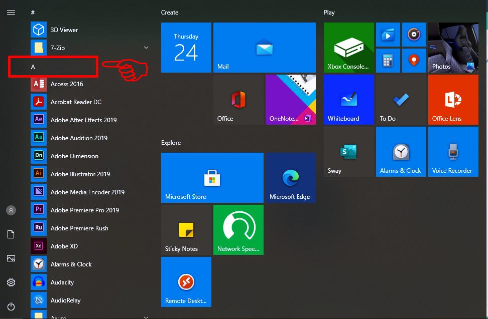 How to sort Windows 10 App alphabetically