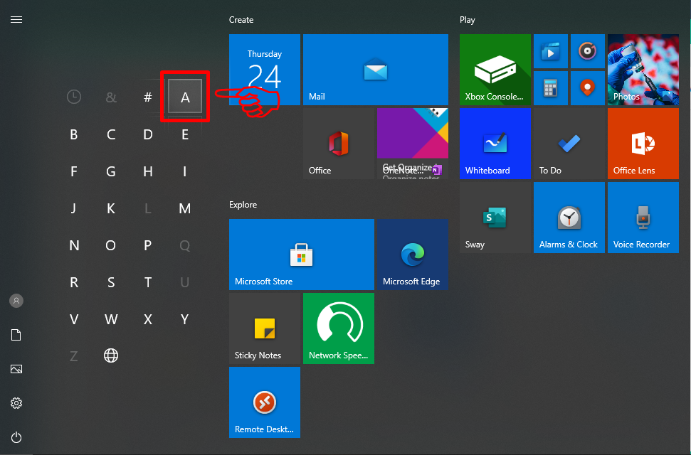 How to sort Windows 10 App alphabetically