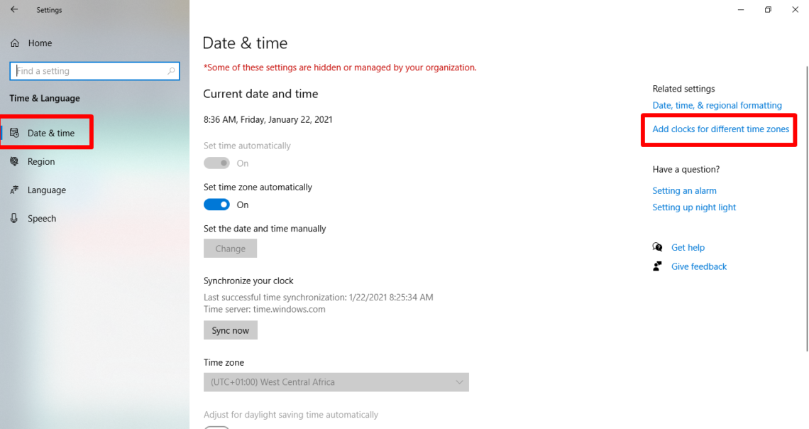 set two time zones on windows 10 without an app