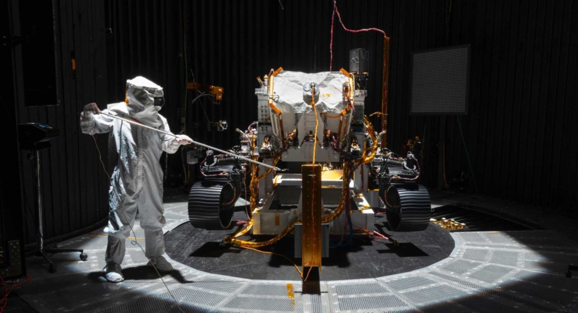 NASA engineers examining the Perseverance rover which will help make some vital discoveries about the planet Mars